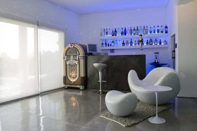 Modern bar with futuristic furniture