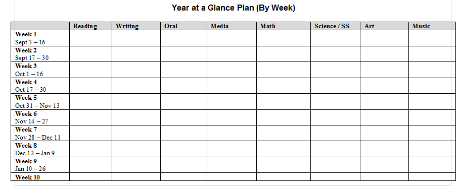 Week Long Lesson Plan Template Costumepartyrun