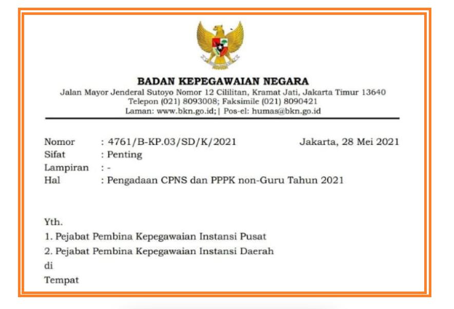 gambar surat edaran BKN tentang cpns dan pppk 2021