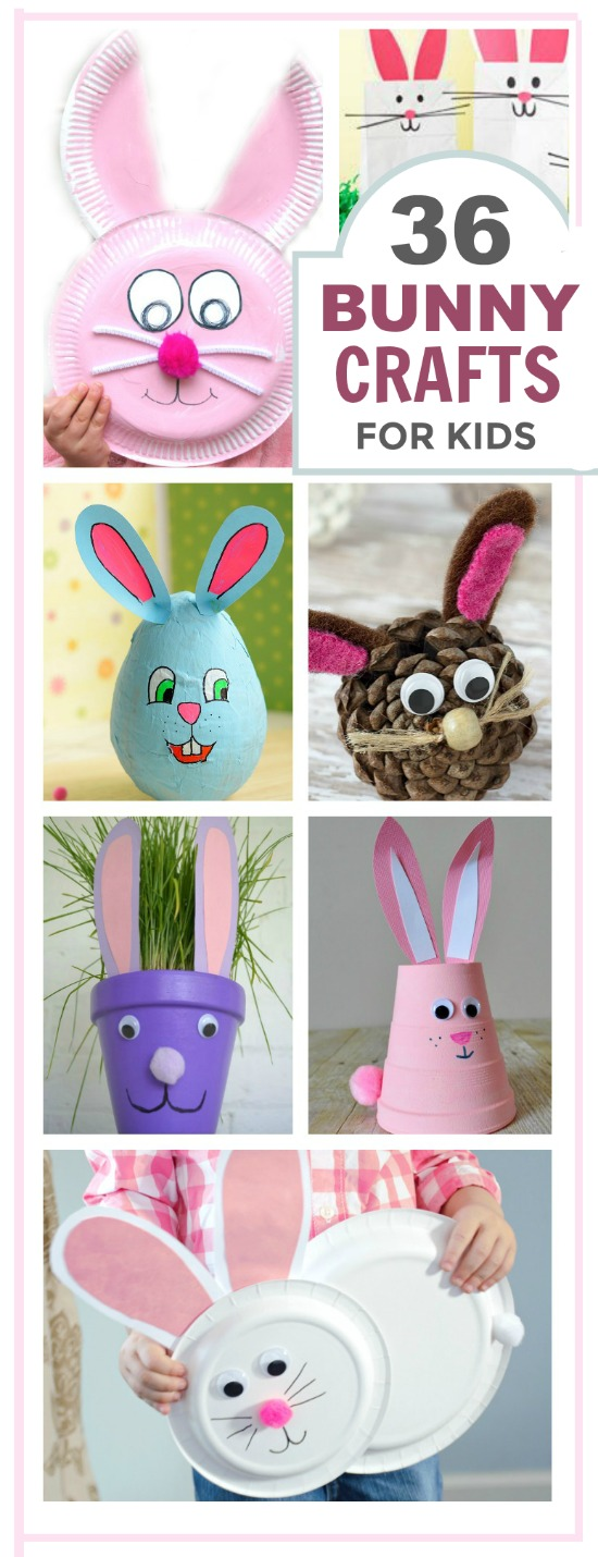 36 EASTER BUNNY CRAFTS FOR KIDS- these are adorable! #easterbunnycrafts #eastercrafts #easteractivitiesforkids