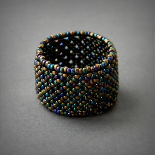 beaded ring beadwork jewelry delicate ring handmade beadwoven ring