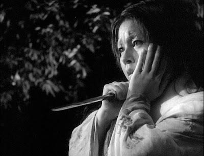 samurai's wife with knife in her hand, Rashomon, in the woods, Directed by Akira Kurosawa