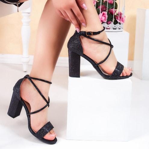 Sandale elegante cu toc gros din gliter