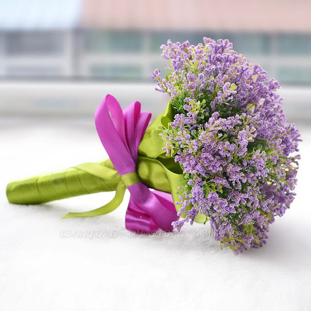 Elegant Real Touch Artificial Lavender Wedding Bouquet