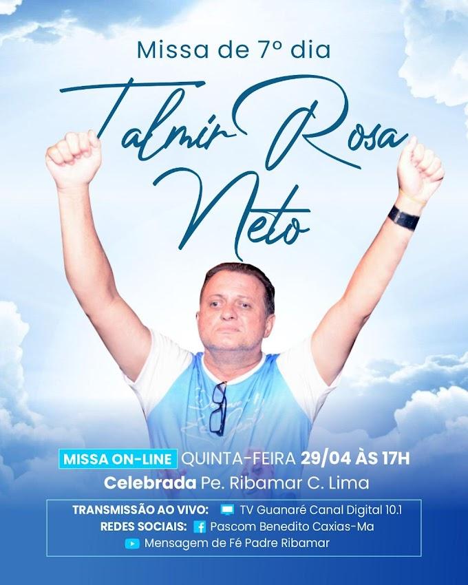 CAXIAS - Missa de sétimo dia em memória a Talmir Rosa será celebrada nesta quinta-feira (29)