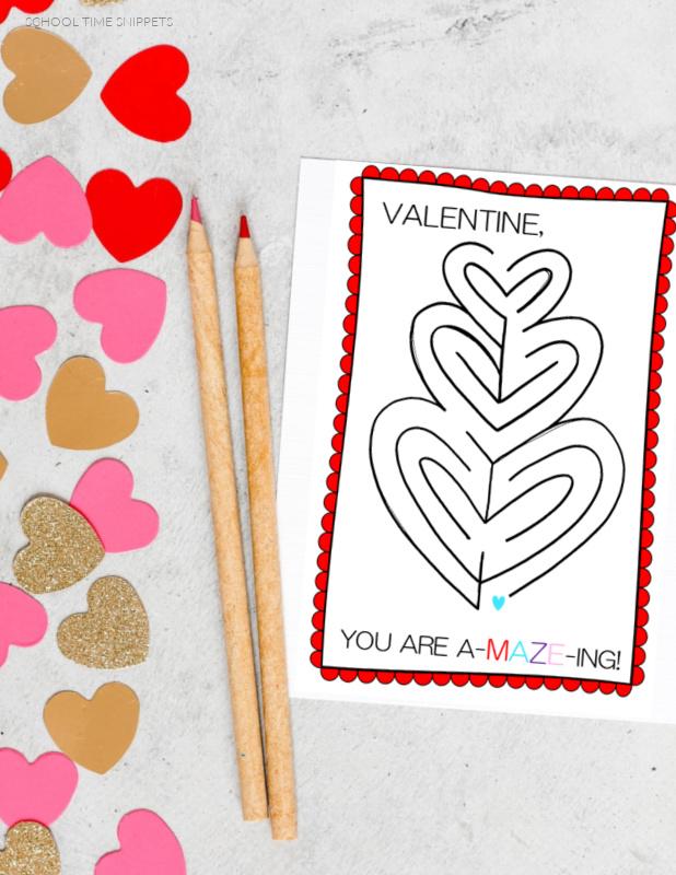PRINTABLE MAZE VALENTINE CARDS FOR KIDS