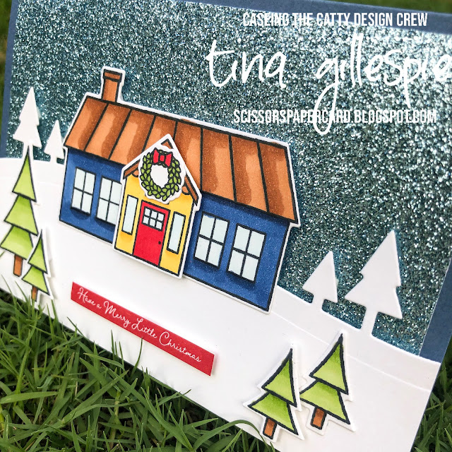 scissorspapercard, Stampin' Up!, CASEing The Catty, Coming Home, Itty Bitty Christmas, Home Together Dies, Trimming The Town DSP, Balmy Blue Glimmer Paper, Stampin' Blends