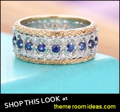 Antique Sapphire Wedding Band Eternity Filigree Ring Vintage Art Deco diamond Women Yellow gold Anniversary Gift Unique Bridal set