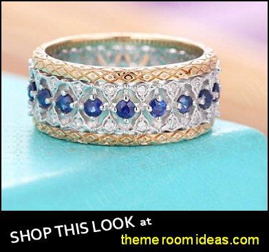 Antique Sapphire Wedding Band Eternity Filigree Ring Vintage Art Deco diamond Women Yellow gold Anniversary Gift Unique Bridal set