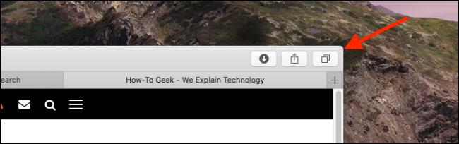 اضغط على زر علامات التبويب في Safari على جهاز Mac