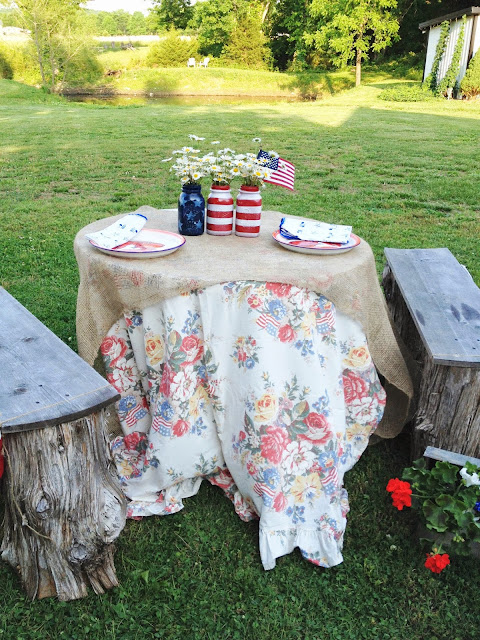 patriotic tablescape, mason jars, red white and blue, Ralph Lauren sheet
