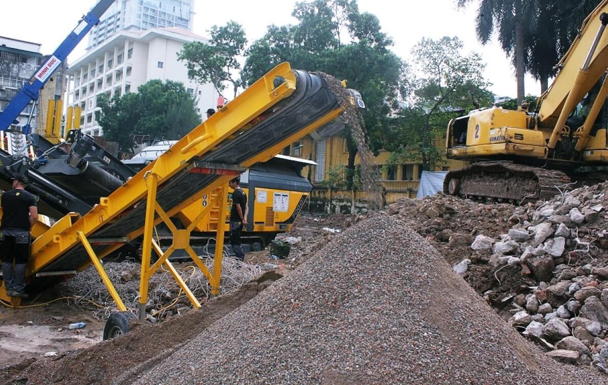 Máy nghiền chất thải bê tông của dự án 138B Giảng Võ