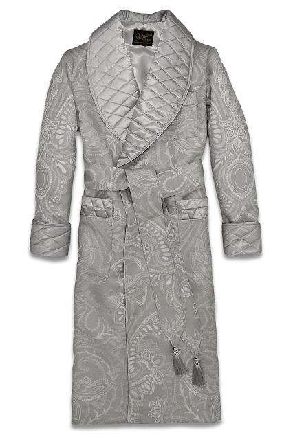 herren hausmantel silber grau seide baumwolle morgenmantel gesteppt luxus paisley dressing gown