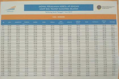 Update Juni 2019!! Jadwal Pemberangkatan dan Pemberhentian LRT Palembang