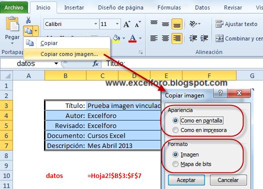 Excel Foro Ejercicios Ejemplos Soluciones Dudas Copiar Y Pegar Como Imagen En Un Libro De Excel