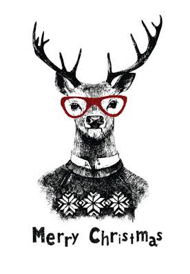 Biglietto di auguri: cervo natalizio
