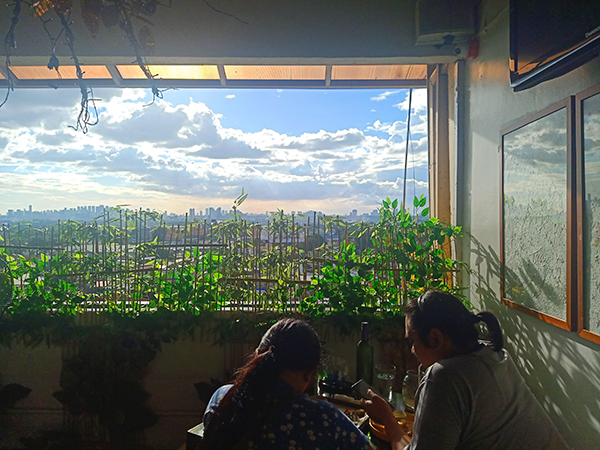 overlooking dining at Yellow Lantern Cafe