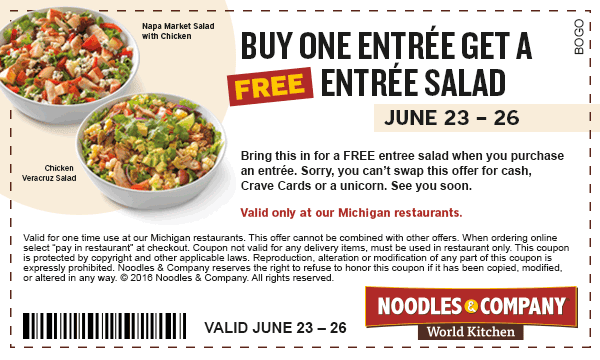 photograph about Noodles and Company Printable Coupons known as Noodles co discount codes : Pompano practice station
