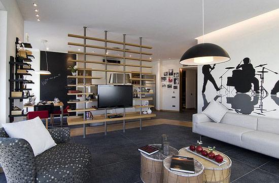 Thiết kế vách ngăn bằng gỗ tạo không gian mở cho ngôi nhà.