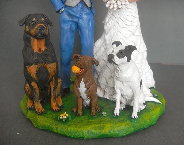 cake topper con cani ritratto sposini personalizzati orme magiche
