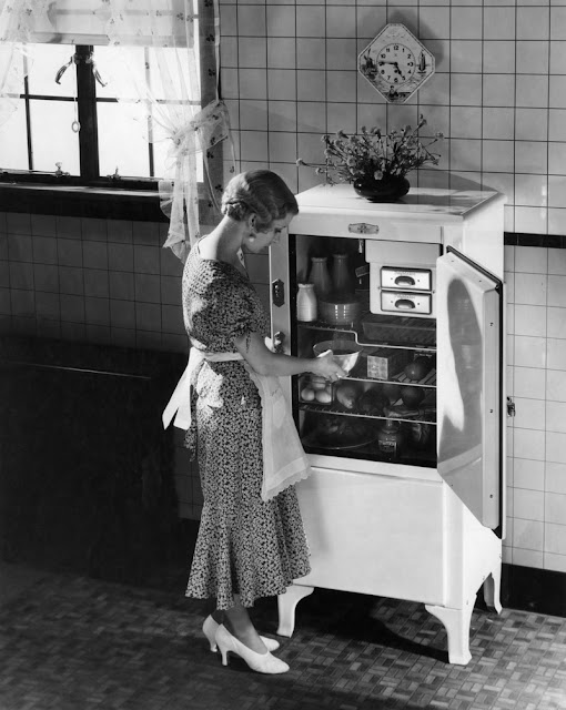 1920s Woman In Apron Silk Party Dress High Heels Taking Dish From Kitchen Refrigerator. Oh Wait and other stories of the Refrigerator. marchmatron.com