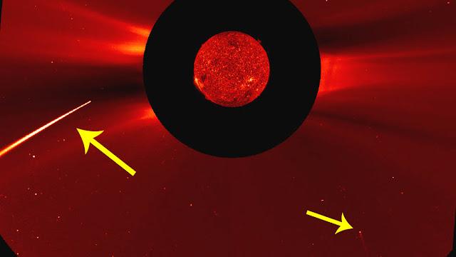 Dois cometas mergulham no Sol ao mesmo tempo