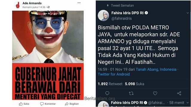 Fahira Idris laporkan Ade Armando soal meme Anies Joker