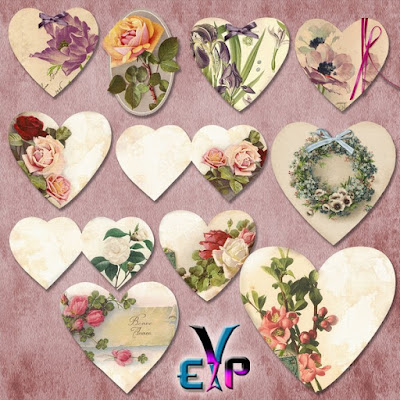 Heart with floral design clipart