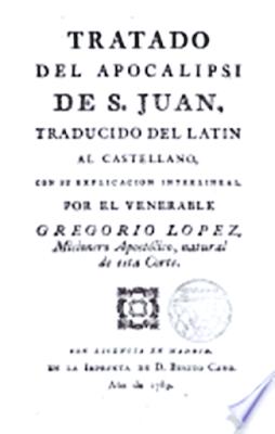 Capa do Tratado Del Apocalipse de Juan de Castellanos