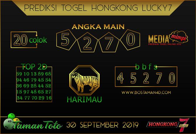 Prediksi Togel HONGKONG LUCKY 7 TAMAN TOTO 30 SEPTEMBER 2019