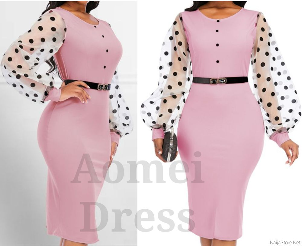 Aomei Dress: Women's Fashionable Bodycon Fitted Blouse - Ladies Office/Casual Wear with Mesh Polka-Dot Sleeve Design