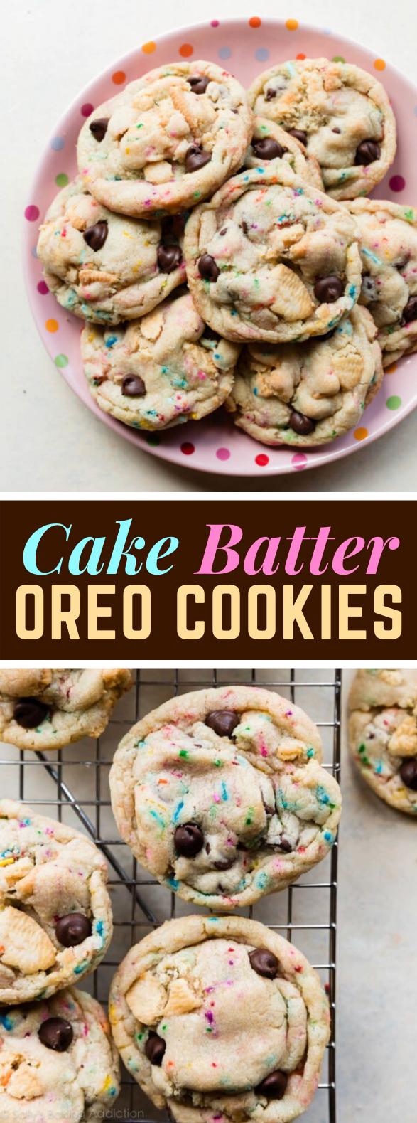 Cake Batter Oreo Cookies #softbaked #dessert