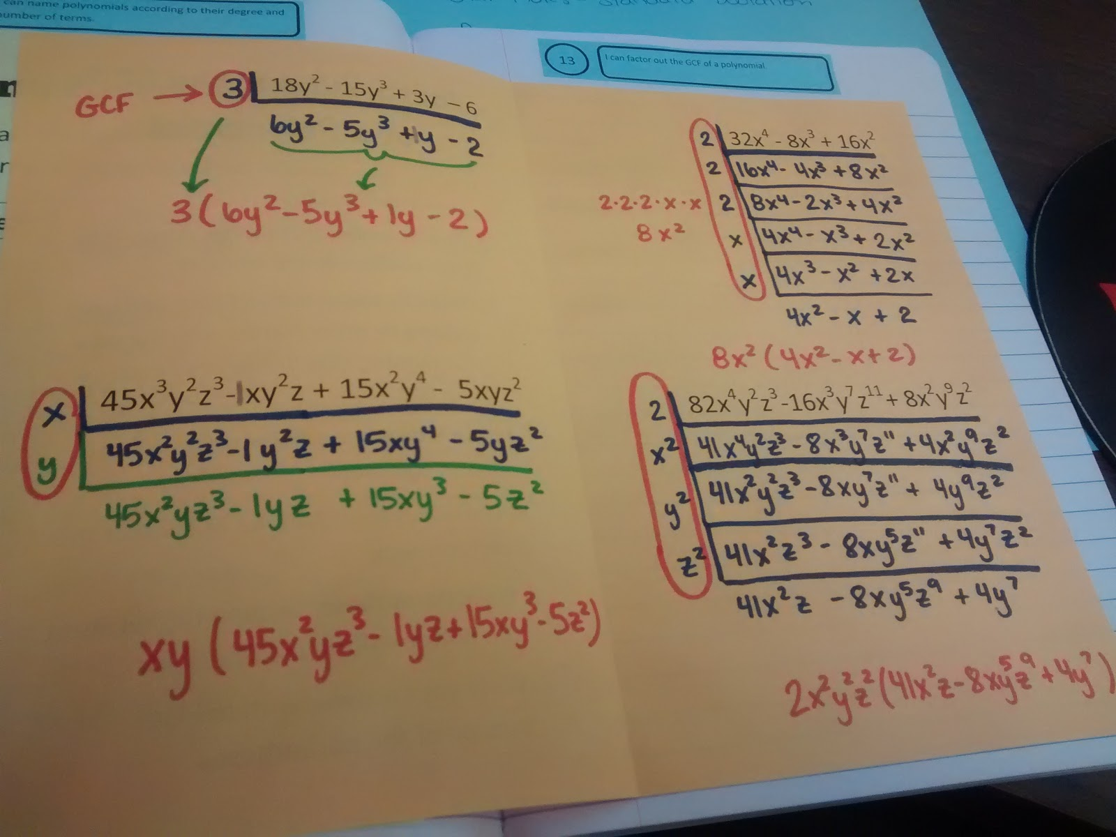 Math = Love: Factoring out the GCF of a Polynomial Foldable
