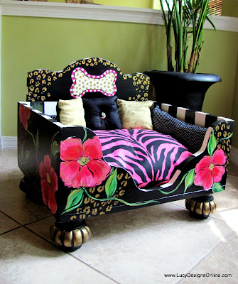 floral hand painted dog bed with animal print
