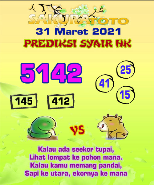 Syair HK Rabu 31 Maret 2021 -