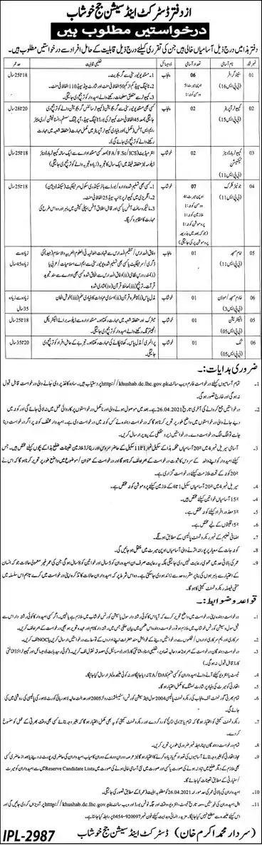 New Jobs in Pakistan District and Session Court Khushab Jobs 2021 | Download Application Form