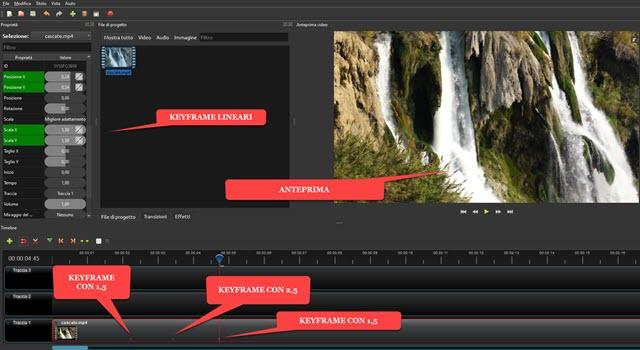 creazione dei fotogrammi chiave con openshot