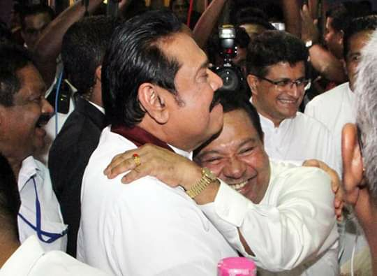 Mahinda Rajapaksa and S.B.Dissanayake Romantic Hug 2