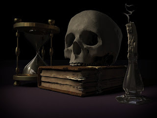 A skull and Law books