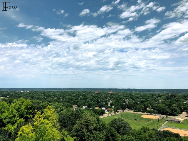 Fantastic view of New Ulm from atop the Hermann Monument. Image credit Katy of Flint & Co.