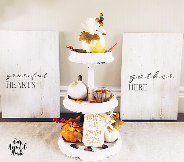 grateful hearts gather here canvas wall art wooden tiered tray pumpkins