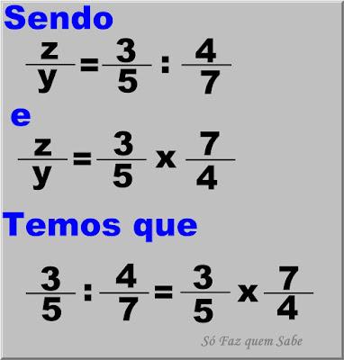 Ilustração mostrando que A divisão de uma fração por outra fração é igual ao produto da primeira fração pelo inverso da segunda fração