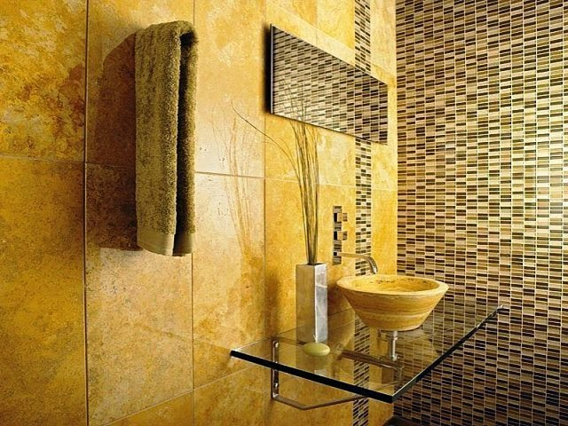 wall color for bathroom with yellow tile