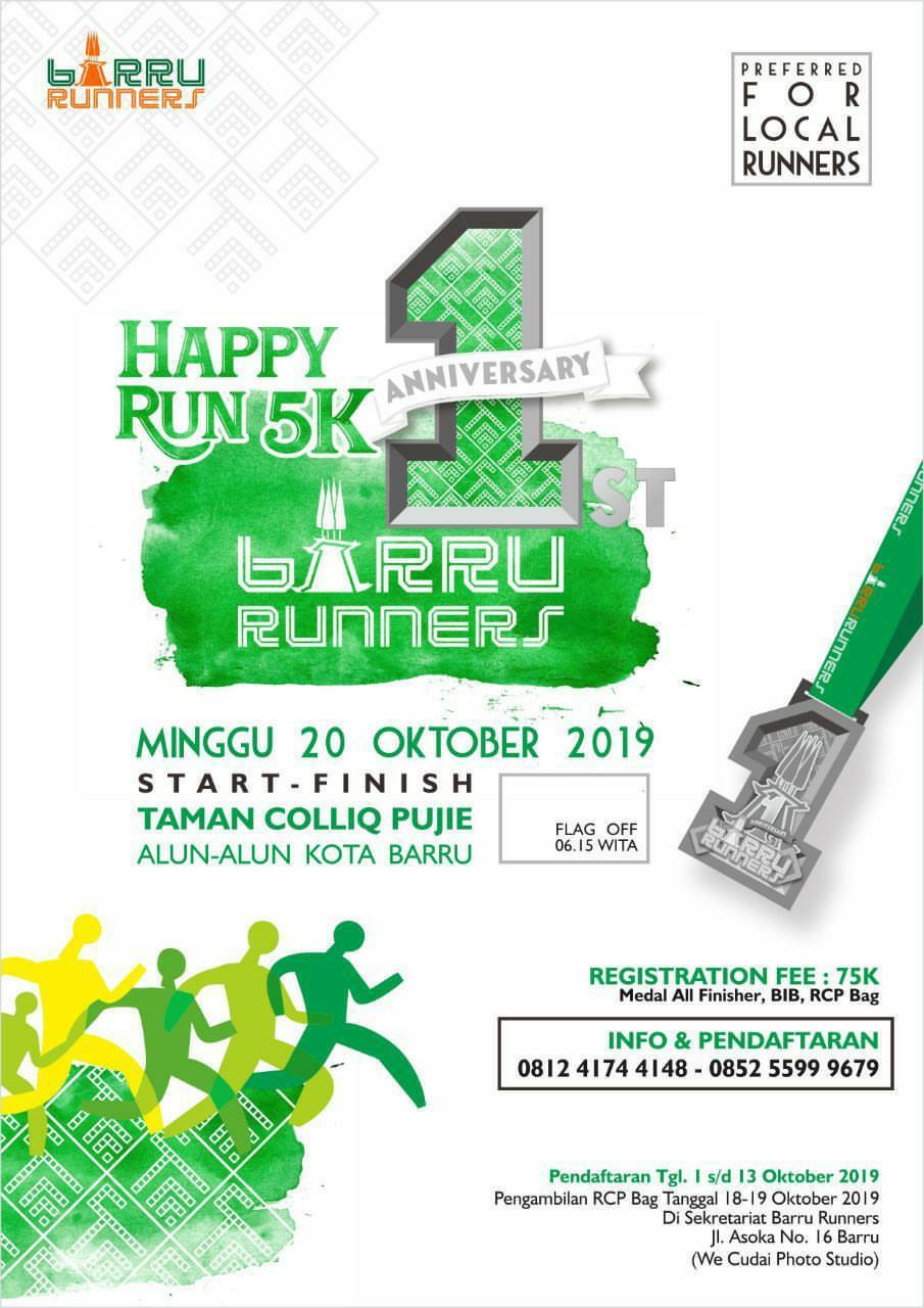Happy Run 5K - Barru Runners • 2019
