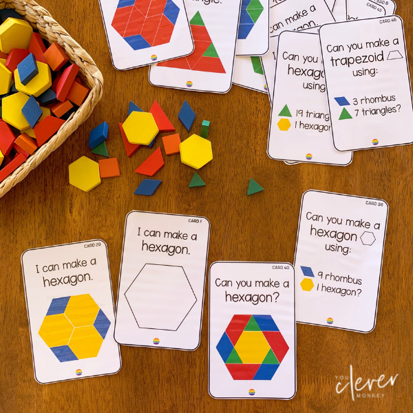 2D Shape Challenge Cards   you clever monkey