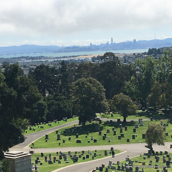 view of San Francisco from Sunset View Cemetery in El Cerrito, California