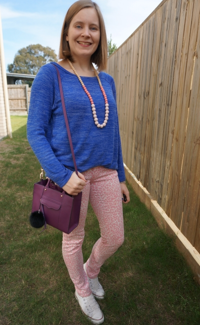 cobalt knit and pink neon leopard print jeans with converse and purple bag mum style | awayfromblue