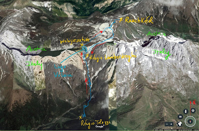 Route from Rifugio Tolazzio to Passo Volaia and on to Rauchkofel.