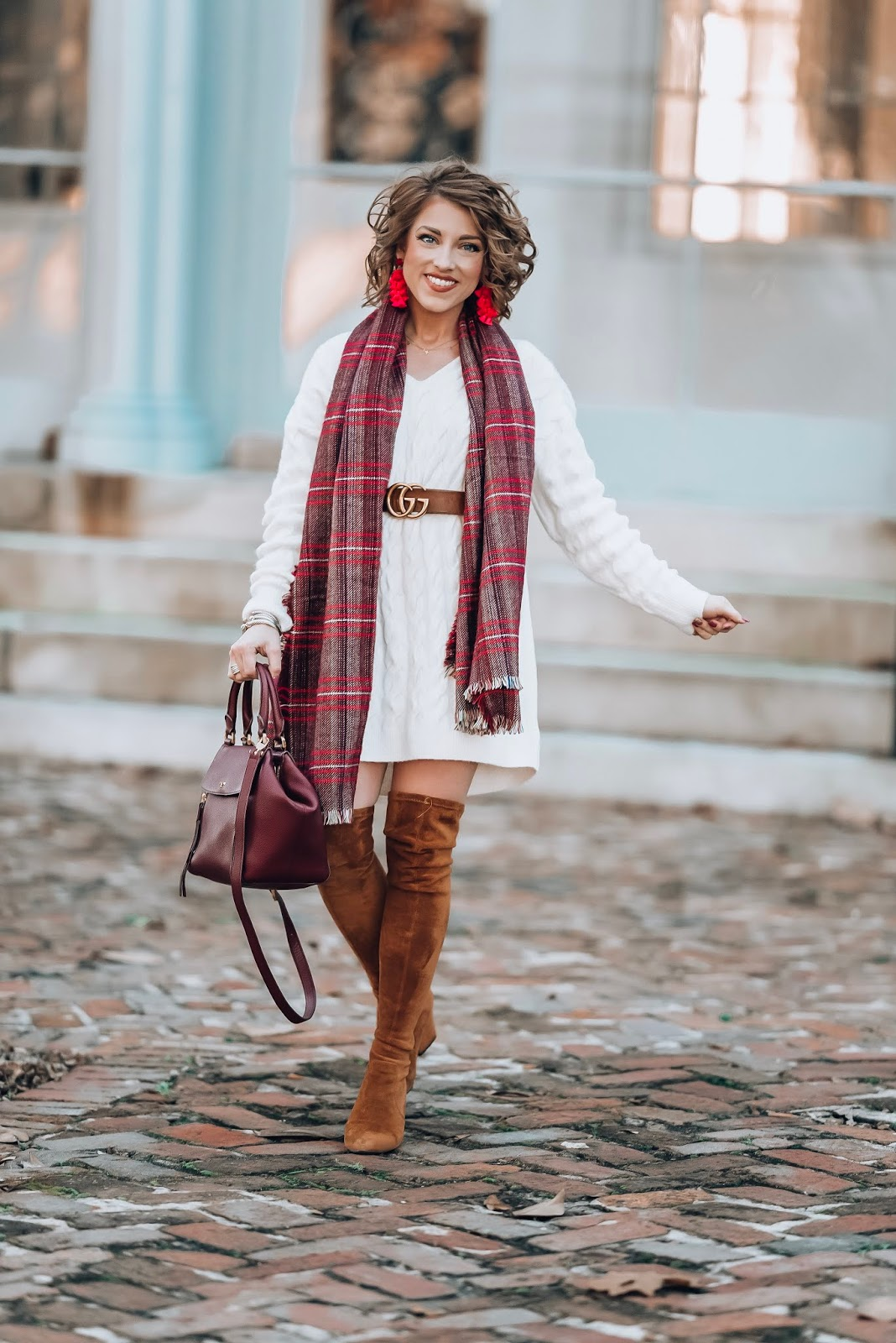 White Cable Knit Sweater Dress - Something Delightful Blog