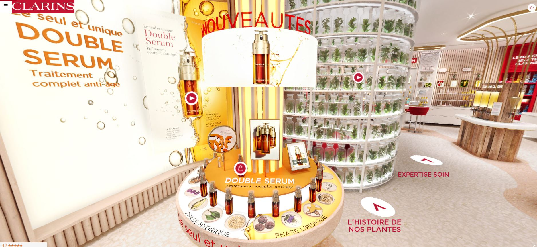 revue beauté virtual store concept retail clarins